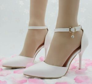 Image Is Loading Women 039 S Red White High Heels Pointed