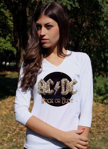 AC DC ROCK OR BUST  ACDC Weiß Langarm 3//4 damen lady T-shirt Shirt Rock tee