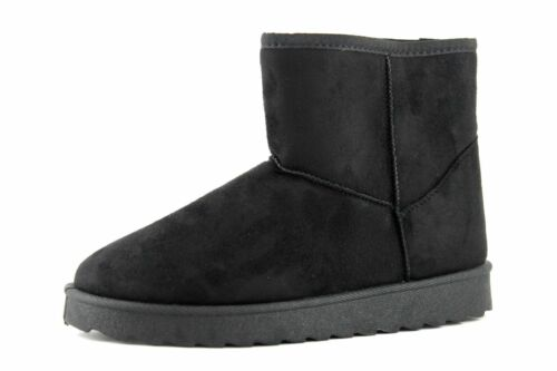 Be You Womens UK 4 5 /& 6 Black Faux Suede Fur Lined Cosy Winter Ankle Boots