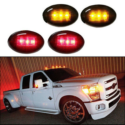 FAYUE LED Dually Bed Fender Side Marker Lights Compatible with Ford F350 F450 F550 1999-2014 Smoked Full Kit Front Rear