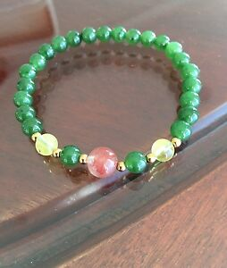 Genuine-Natural-Nephrite-Green-Jade-Bracelet-With-Red-Agates-amp-Ambers