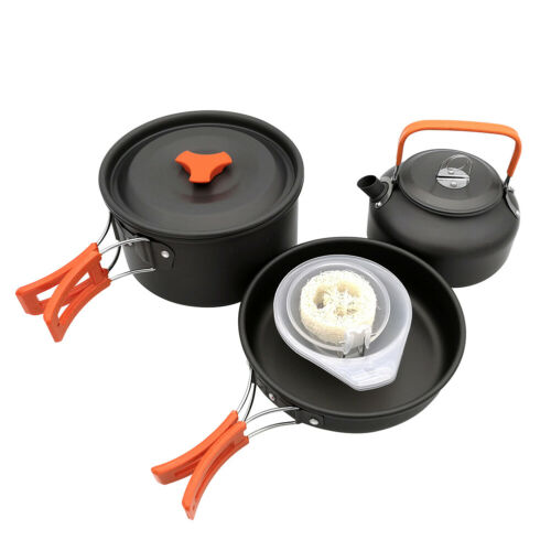 CAMPING HIKING PICNIC COOKWARE ALUMINIUM FRYING PAN POT TEA KETTLE SET SMART