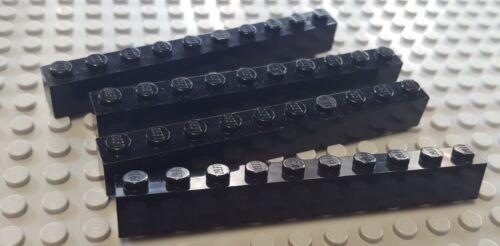 4x Lego Brick parts pieces 1x10 Black 6111