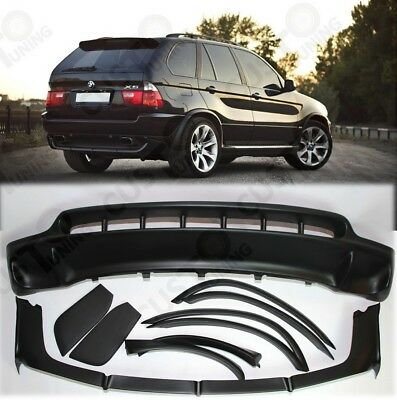 FRONT and REAR SPOILERS for BMW X5 E53 4.8is style 2003-2006 facelift-FIBERGLASS