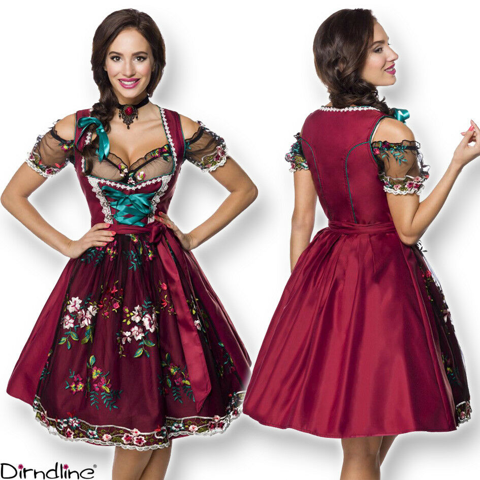 70048 elegante Dirndl & Punte-Grembiule Camicia 3-tlg s-3xl Oktoberfest Vestito Trachten
