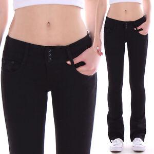 Das Bild wird geladen Damen-Bootcut-Hueft-Jeans-Hose-Schlag-Stretch-Hueftig- bf2b9fa293