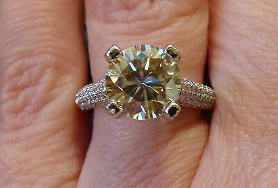 8.5mm CANARY MOISSANITE in 1 ct DIAMOND Semi-Mount Engagement Ring 14K WG New