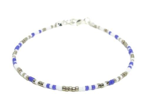Dainty Purple White /& Silver Seed Bead Boho Stacking Friendship Bracelet Gift