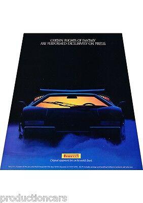 1989 1990 Lamborghini Countach 25th Pirelli Tires Advertisement Print Ad P63