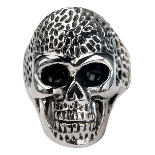 NEW INOX Men/'s Stainless Steel skull dotted head ring