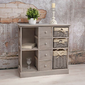 kommode schrank regal shabby chic grau 3 k rben regalf cher holz sideboard bra ebay. Black Bedroom Furniture Sets. Home Design Ideas