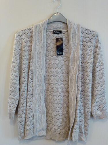 Chic Womens 3//4 Sleeve Waterfall Open Knitted Crochet Cardigan S-L BNWT Beige