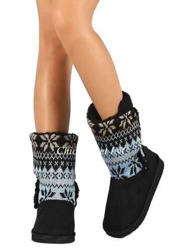 NEW Women Mid Calf Warm Winter Faux Sheepskin Fur Sweater Booties Comfy Boots