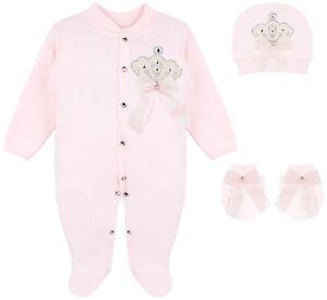 0-3  Months 7 Piece Baby Girls Layette Clothing Gift Set Pink Owl Design