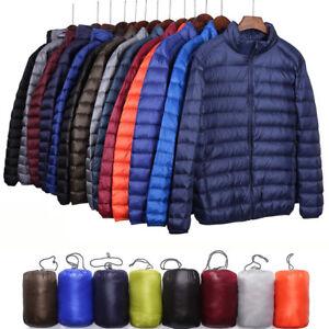 Men-039-s-Packable-Duck-Down-Jacket-Stand-Collar-Ultralight-Outerwear-Coat-Puffer