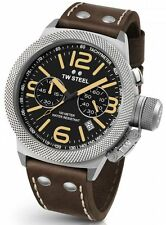Mens TW Steel 50mm Canteen Dark Brown Leather Black Dial Chronograph Watch CS34