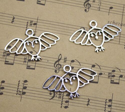Lot 15~100pcs Retro Jewelry Making DIY Cute Owl Alloy Charm Pendant 29x18mm