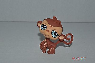 Littlest Pet Shop~#485~Monkey~Brown Tan~Beige Streaks On Legs~Ice Blue Teardrop