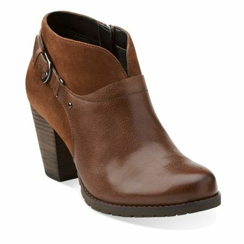 Clarks Women's Mission Parker Brown Leather/Suede Chelsea Boots 26103398
