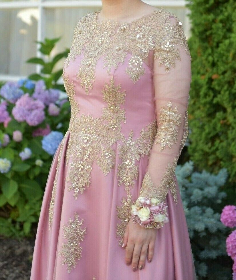 Modest Pink Prom Dress with Gold Embroidery
