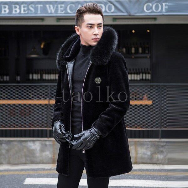 Uomo Shearling Warm Fur Cappotto Outwear Parka Casual Winter Fur Collar Casual Parka Overcoat sz 9e3688