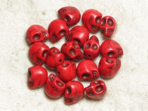 10pc - Perles Tête de Mort Crâne Turquoise Synthèse Rouges 10x12mm  455855003639