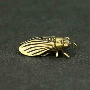 Chinese-Brass-Cicada-Pendant-Small-Statue-China-Zodiac-Pocket-Xmas-Present-Gifts