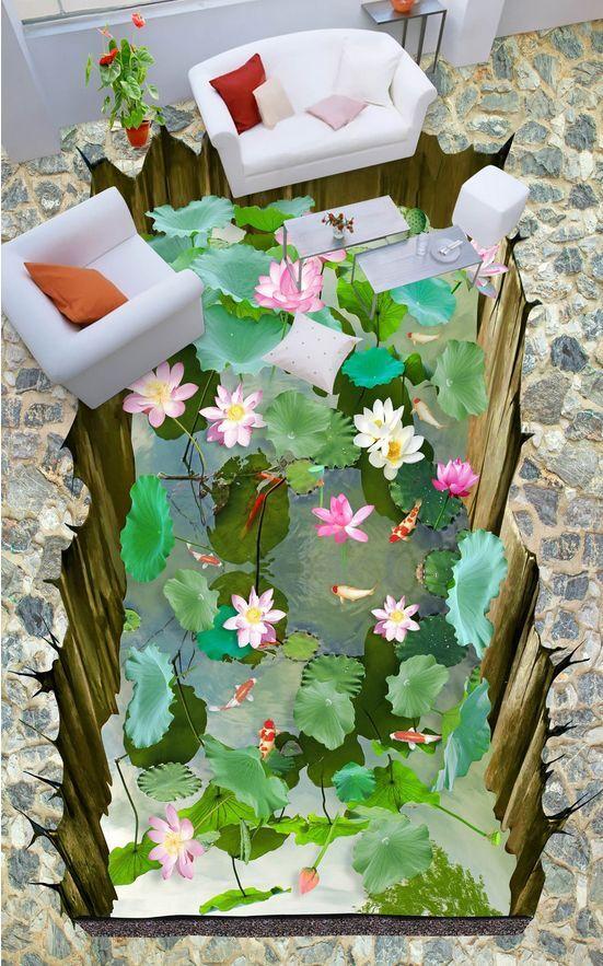 3D fish water flower 72 Floor WallPaper Murals Wall Print Decal 5D AJ WALLPAPER
