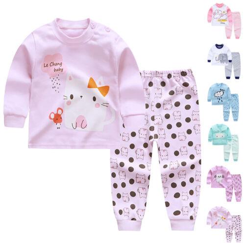 2pcs Boys Girls Pyjamas Kids Long Sleeve Clothes Set Nightwear Sleepwear Baby