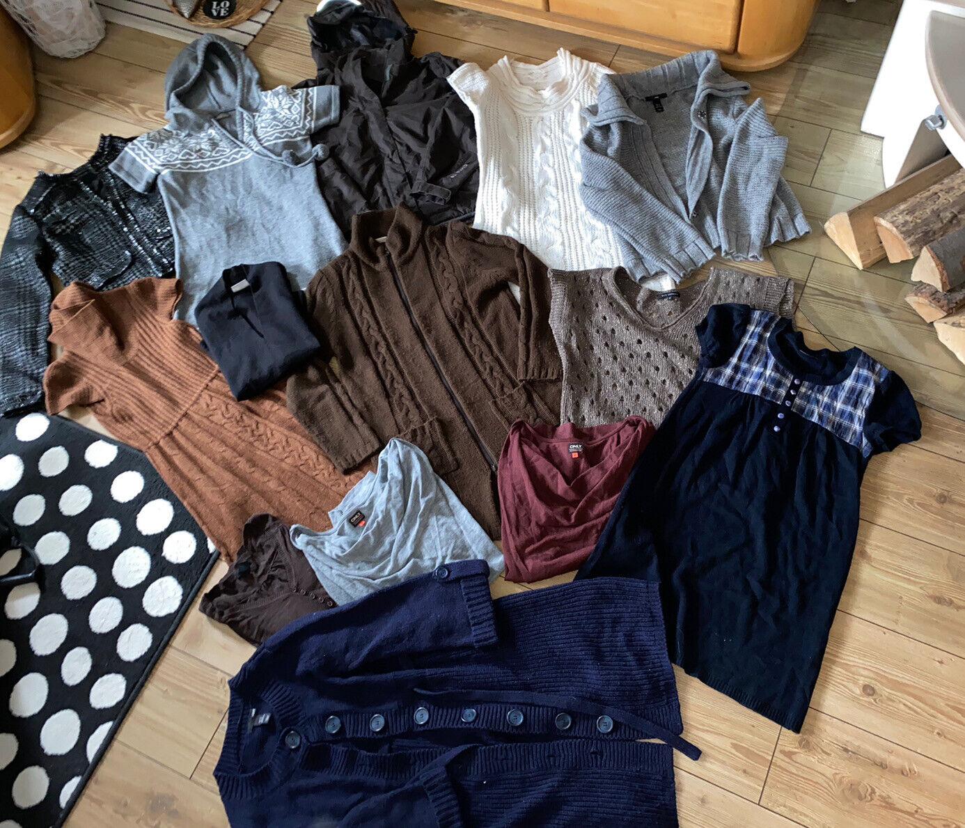 Kleiderpaket 14 Teile Jacken Kleider Pullover Strick Gr. 34 36 XS S Damen