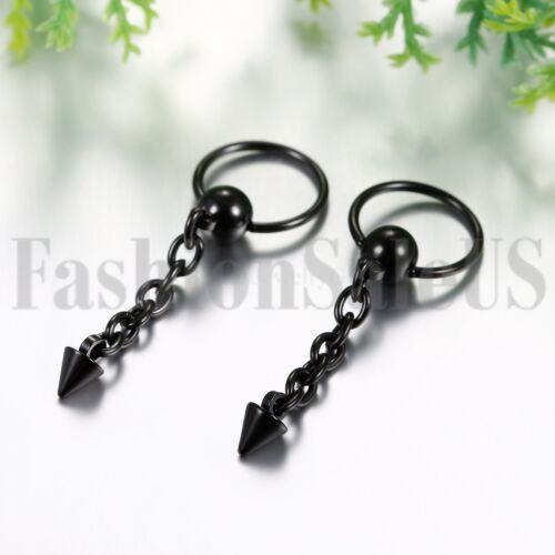 2pcs hommes femmes en acier inoxydable Hoop CALIN Spike Longue Chaîne Dangle Boucles d/'oreilles clous