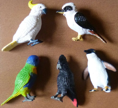 AUSTRALIAN BIRDS COLLECTION of 5 Small REPLICAS Kooka Cockatoo Penguin Lorikeet
