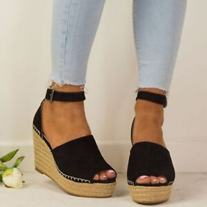 Summer-Women-039-s-Sandals-Boho-Wedge-Heel-Peep-Toe-Ankle-Strappy-Casual-Beach-Shoes