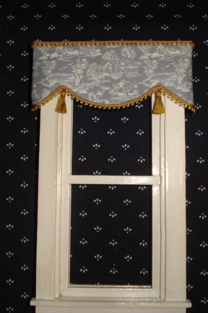 "Blue Toile  Valance Dollhouse Curtains - 3 "" W x 1 1/4 "" L"