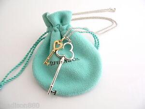 183bd919b Tiffany Co Silver 18K Gold Trefoil Heart Key Necklace Pendant Charm ...