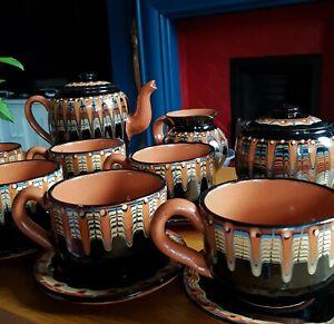 Vintage-Troyan-Bulgarian-6-CupTea-Set-Teapot-Drip-Glaze-Art-Pottery-Ceramics