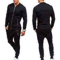 Mens Sports Suit Casual Zip Black Tracksuit Jogging Jacket Top Training Pants XL