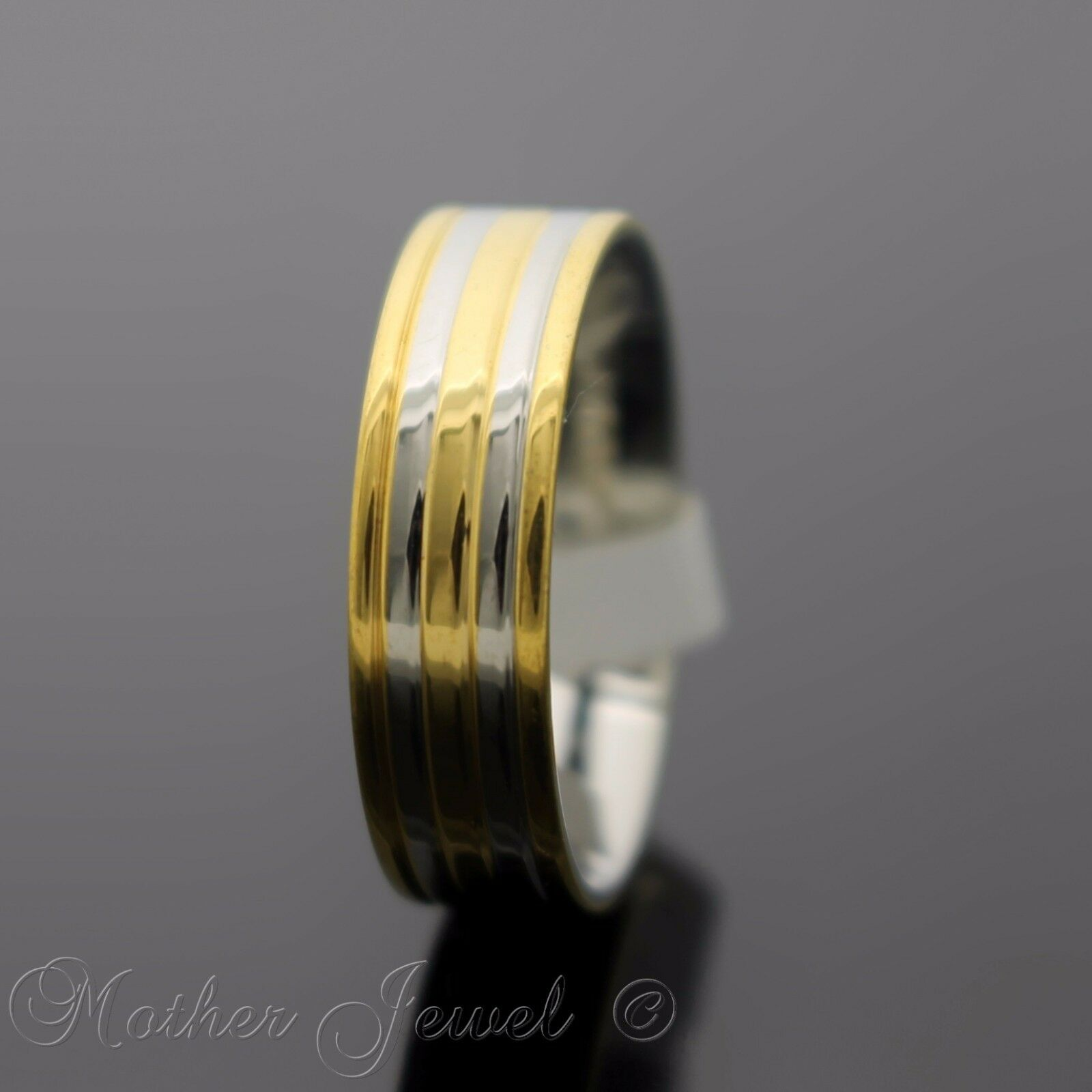 1ad13ac2f 18K YELLOW GOLD PLATED STAINLESS STEEL WEDDING ANNIVERSARY BAND MENS WOMENS  RING