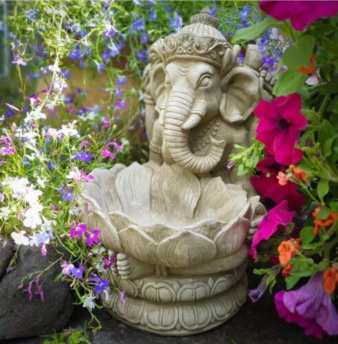 STONE GARDEN GANESH LOTUS FLOWER BIRD FEEDER ELEPHANT GOD BUDDHA STATUE ORNAMENT
