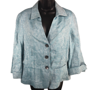 Jones New York Light Blue Long Sleeve Button Front Shirt/Jacket Women's Size 14
