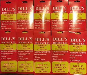 """Dill's Premium Bristle Pipe Cleaners Absorbent Sturdy 6"""" 10 Packs of 32 Dills"""