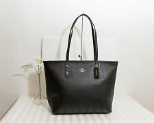 NWT Coach Crossgrain Leather Zip Top City Tote Shoulder Bag BLACK F58846 $295