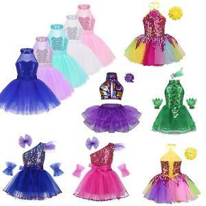 c5e7d7fde Girls Kid Lyrical Dance Dress Ballet Latin Dancewear Sequined Tutu ...