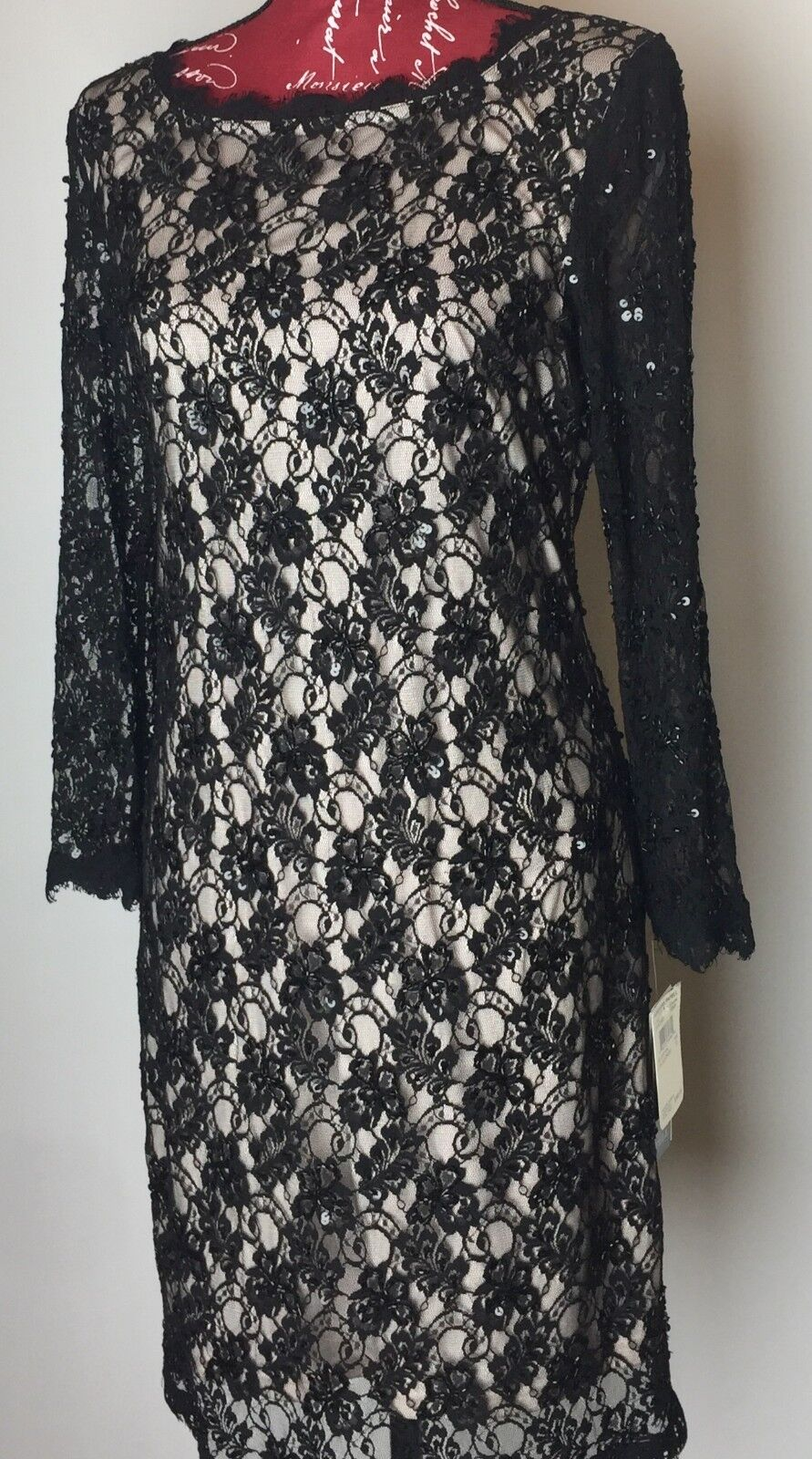 ADRIANNA PAPELL 0418774820 LACE SEQUIN DRESS ( New )