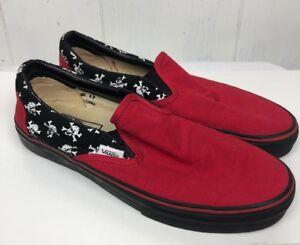 dd66c36e734c Vans Size 8.5 Red Black white Skull Print Shoes Slide On