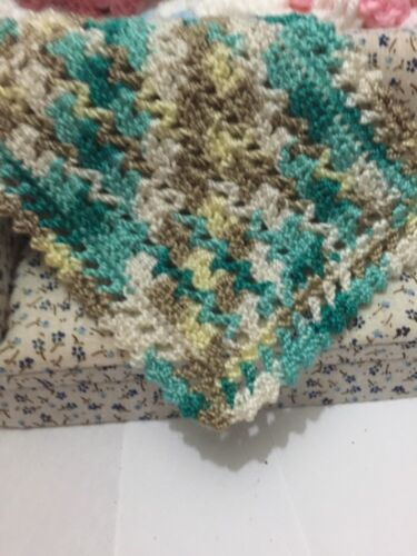 CROCHETED MINIATURE DOLLHOUSE DOLL BLANKET Variegated Greens