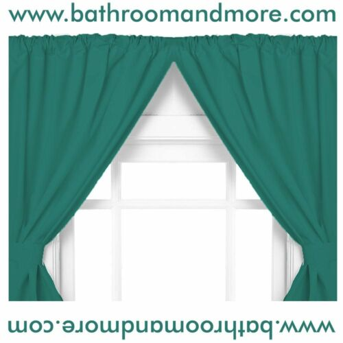 Carnation Home Fashions Vinyl Bathroom Window Curtain 2 Panels with Tie Backs