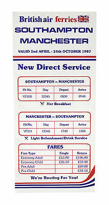 Hearty British Air Ferries Airlines Timetable April 2, 1987