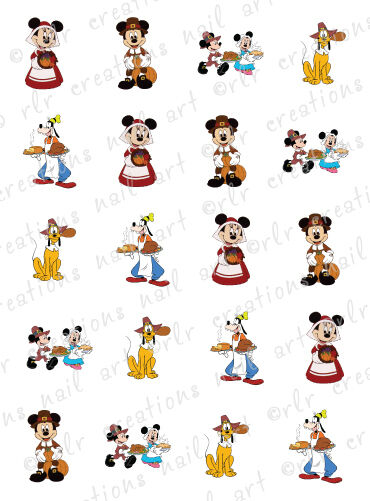 20 NAIL DECALS * DISNEY THANKSGIVING* CHARACTER THEMED WATER SLIDE NAIL DECALS