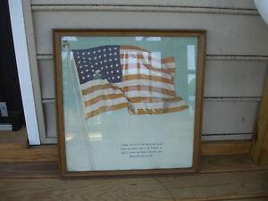 Old Vtg USA United States Of America Pledge of Allegiance Framed Picture
